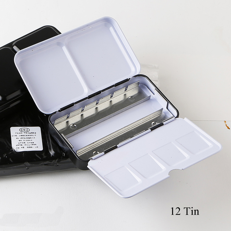 Empty Metal Watercolor Paints Tin Box Palette Painting Storage Box With Full Pans Or Half Pans Art Supplies