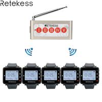 Retekess 5pcs T128 Wtach Receiver + 1pc TD005 Five-Key Call Button Wireless Calling System Wireless Pager Transmitter Restaurant