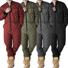 Men One Pieces Rompers Autumn Warm Lattice Solid Color Zipper Jackets Coats Male Slim Fit Thick Playsuit Plus Size Outfits Black