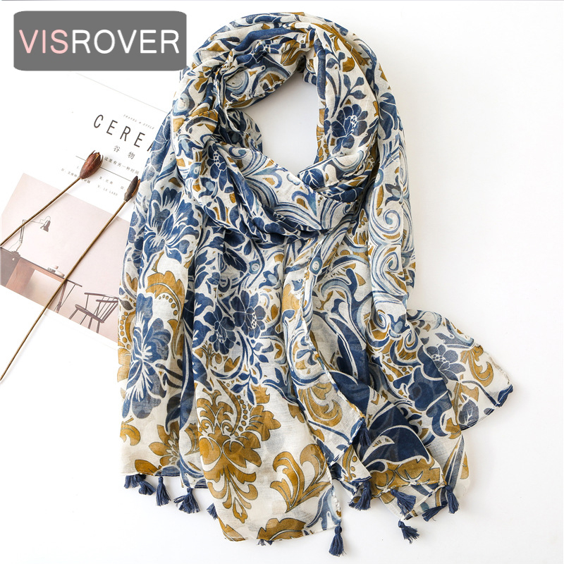 Beach scarf luxury brand viscose big scarf hijab natural paisley print scarf hair womens scarfs fashionable spring scarve(China)