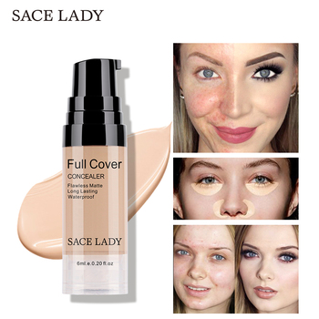 SACE LADY Full Cover 6 Colors Liquid Concealer Makeup 6ml Eye Dark Circle Cream Face Corrector Waterproof Pro Cosmetic Wholesale face concealer cream full cover waterproof liquid facial corrector base makeup concealer under the eyes correcting dark circles