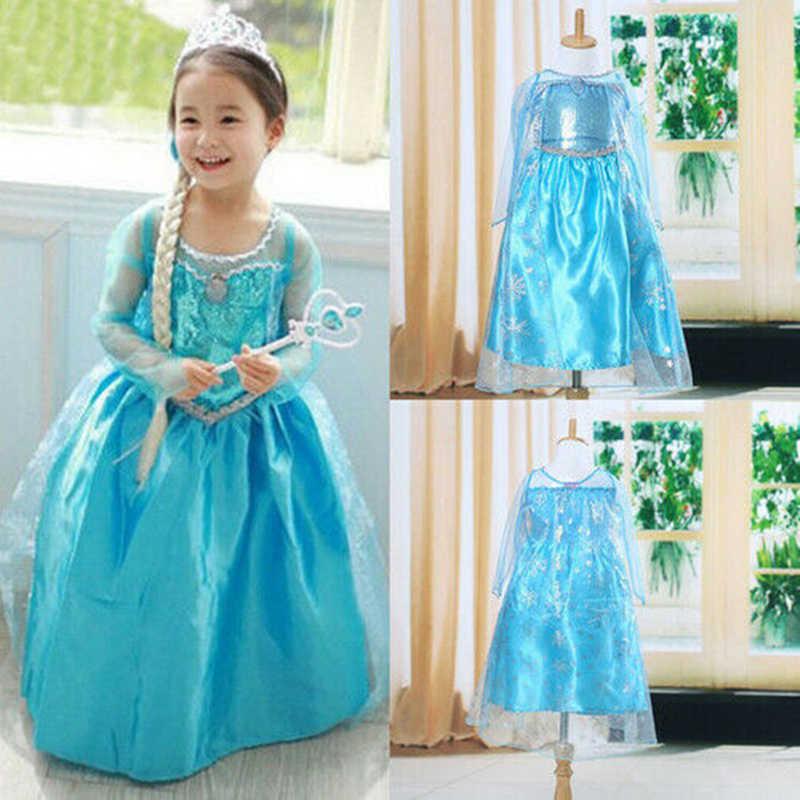 2019 ใหม่สีฟ้าเด็กทารกเด็กแช่แข็งเครื่องแต่งกายชุดเจ้าหญิงหิมะ Queen Dress Up เด็กปาร์ตี้ชุดคอสเพลย์ Tulle ชุด 3-8Y