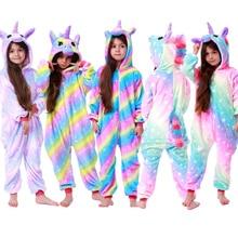 Кигуруми Детские пижамы с единорогом для детей, цельные фланелевые зимние пижамы унисекс с рисунком динозавра из мультфильма для малышей, Комбинезоны