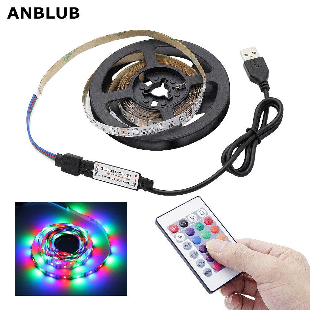 ANBLUB 1M 2M 3M 4M 5M USB LED Strip RGB Lamp 2835 SMD DC5V Flexible Light Tape Ribbon HDTV TV Desktop Screen Backlight Lighting