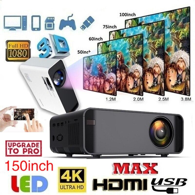 Новый дизайн W80 умный ЖК-проектор мультимедийный медиаплеер и светодиодный экран Поддержка 4K HDMI/AV/USB/TF/VGA проектор для дома и подарка
