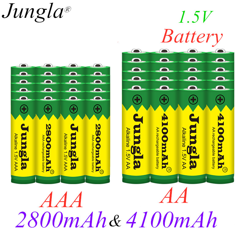 2020 New 1.5V AA 4100mAh Alkaline battery + AAA 2800mAh Alkaline Rechargeable battery aa aaa for led light toy mp3 free shipping image