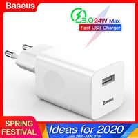 Baseus 24 w carga rápida 3.0 carregador usb qc3.0 parede carregador do telefone móvel para o iphone x xiao mi 9 tablet ipad ue qc carregamento rápido