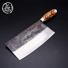 SHUOJI Handmade Chinese Kitchen Knives High Carbon Forged Kitchen Cleaver Wood Handle Slicing Knife Traditional Cooking Tools