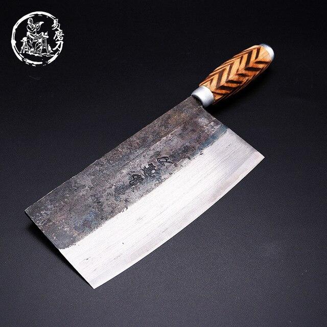 SHUOJI el yapımı çin mutfak bıçakları yüksek karbon dövme mutfak Cleaver ahşap saplı dilimleme bıçağı geleneksel pişirme araçları