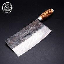 Shuoji手作り中国包丁高炭素鍛造キッチン包丁木製ハンドルスライスナイフ包丁の伝統的な調理ツール