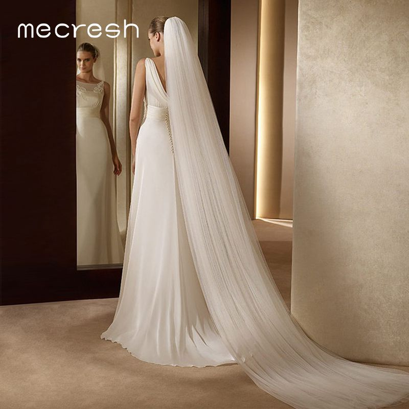 Mecresh 5M White Beige Long Bridal Veils for Women One Layer / Double Layer Cathedral Wedding Veils Accessories with Comb VTS014