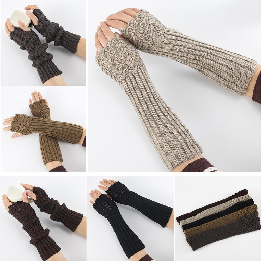 Christmas Gift Lady Solid Color Knitted Arm Warmer Sleeve Winter Stretch Fingerless Long Gloves 2020 Calentador De Manos