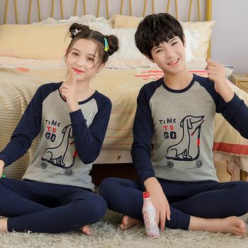 Piżamy dziecięce jesienne nastolatki dziewczęta chłopcy piżamy zimowe piżamy dziecięce Homewear bielizna nocna odzież dla nastolatki Pijamas garnitur tanie i dobre opinie YSOYOK COTTON CN (pochodzenie) Cartoon Wokół szyi Unisex Pełna REGULAR 140-175cm Pasuje prawda na wymiar weź swój normalny rozmiar