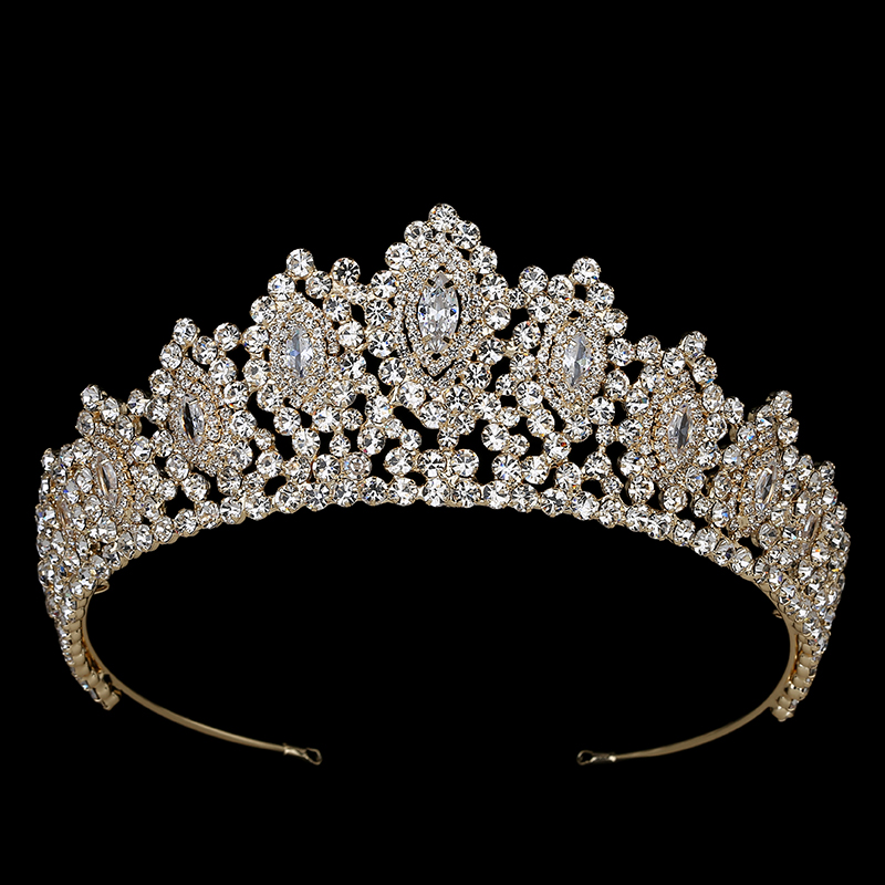 Image 2 - Hadiyana New AAA Rhinestone Crowns Vintage Style Big Eye Shape  Wedding Accessories Bridal Hair Tiaras Yellow Gold Party BC3707Hair  Jewelry