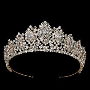 Image 2 - Hadiyana New AAA Rhinestone Crowns Vintage Style Big Eye Shape Wedding Accessories Bridal Hair Tiaras Yellow Gold Party BC3707