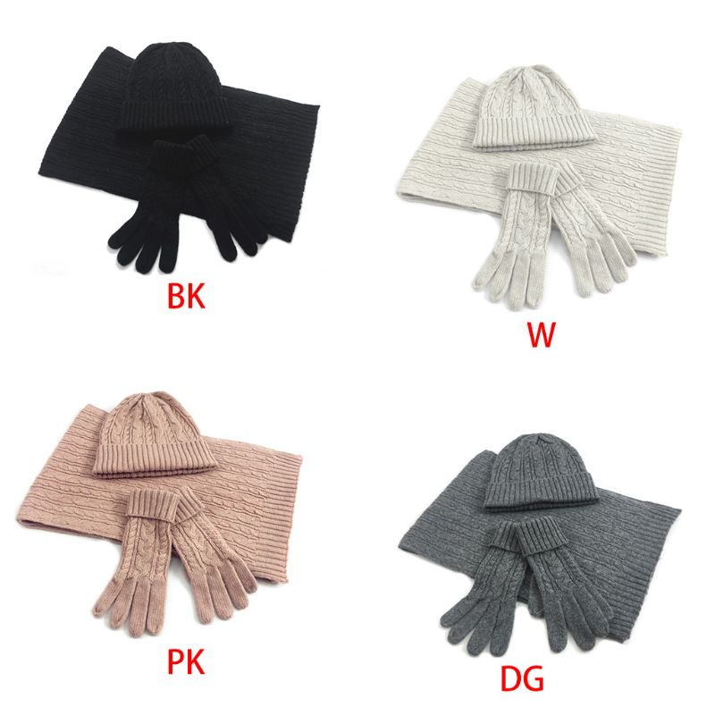 Women Twist Braided Cable Knit Solid Color Warm Scarf Beanie Hat Gloves 3Pcs Set NEW
