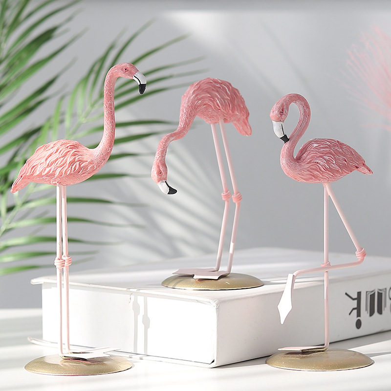 Pink Flamingo Standing Art Statues Home Decor Yard Ornament  Crafts Animal Figurine Decoration Objects Arts Gifts
