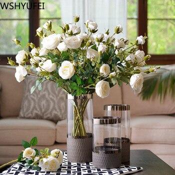 New style Crystal glass vase Living room dried flower decoration Office desktop high-grade decoration Studio decoration WSHYUFEI