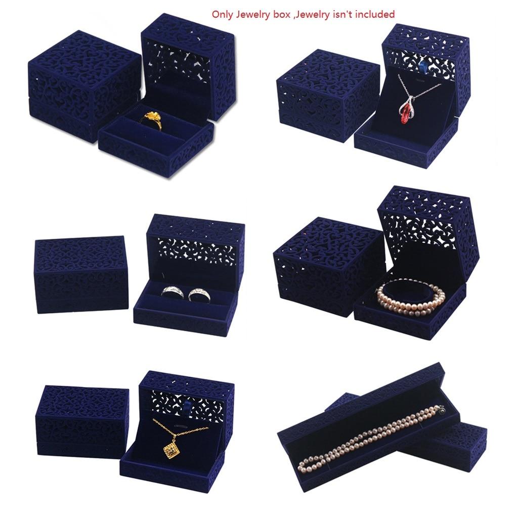 Hollow Royal Blue Velvet Jewelry Box Ring Bracelet Necklace Display Organizer Gift Box