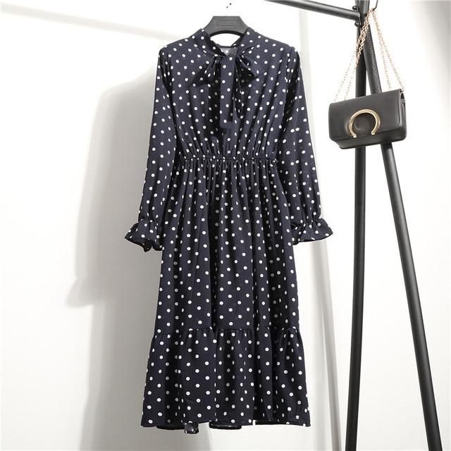Женская одежда размера плюс, шифоновые платья-рубашки с длинным рукавом для женщин, с красным цветочным бантом, для клувечерние, Осень-зима 2020, для женщин 6