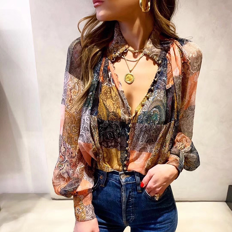 Stitching Silk Shirts Women Printing Loose Fashion Single-breasted Retro Shirt Womens summer Casual Long sleeve 2020 New
