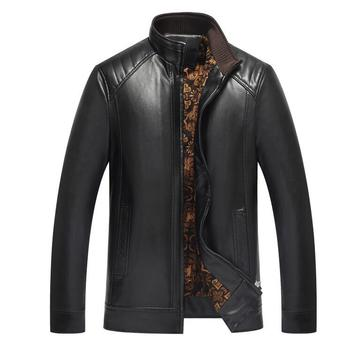 Thin motorcycle leather jacket men warm plus velvet thicken pu clothes mens leather jackets casual coats biker B414