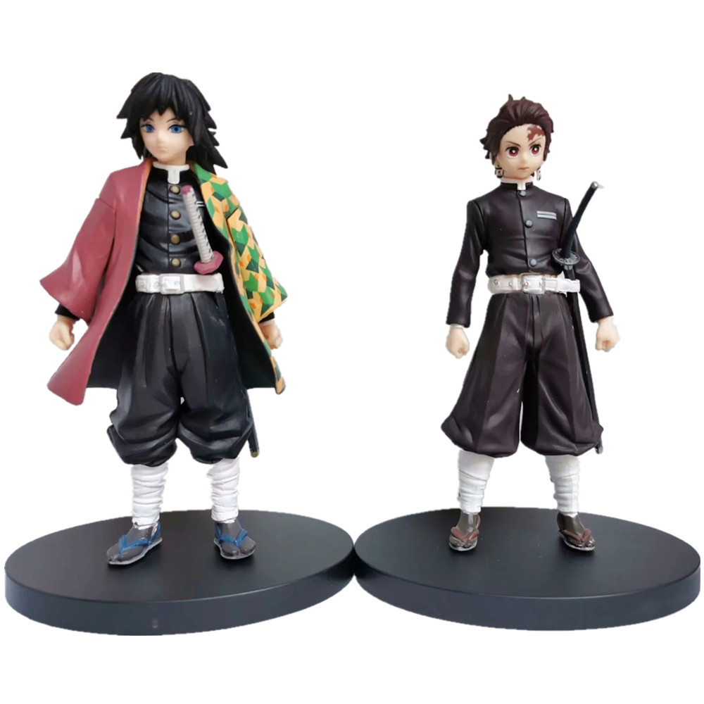 Kimetsu no Yaiba Figure Tanjirou Tomioka Giyuu Black Clothes PVC Model Toy Demon Slayer Action Figures Anime Brinquedos Toys