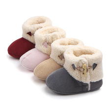 2019 Girl Winter Boots Solid Cute Baby Girls Shoes Infant Fur Plush Insole Buckle Bottom Warm Ankle Snow Boots Elastic Band