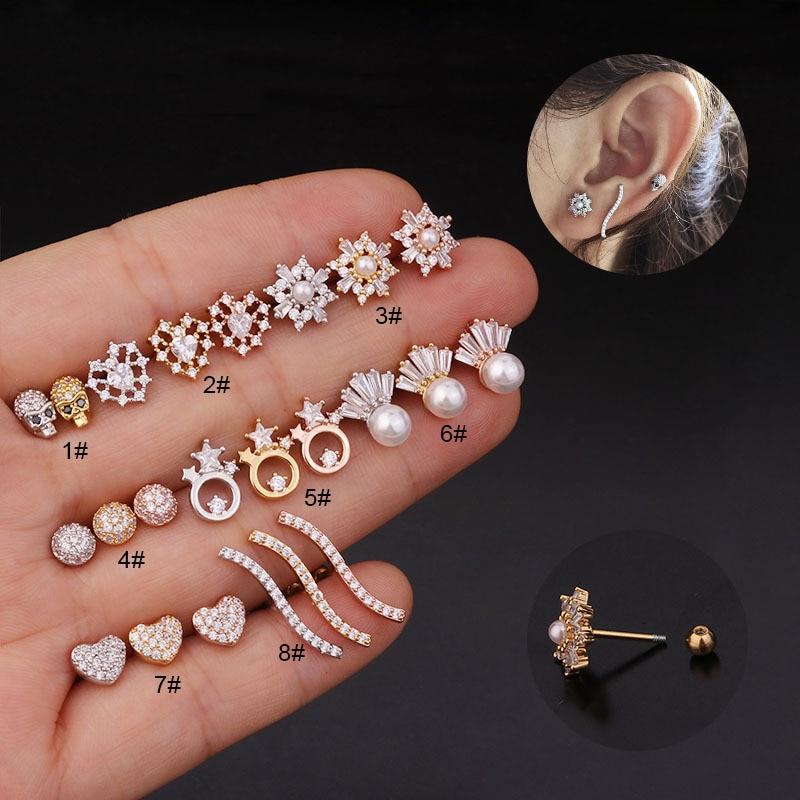 Trendy 1Pc 20g Stainless Steel Screw Back Stud Earring Pearl Cz Cartilage Helix Tragus Conch Rook Lobe Ear Piercing Jewelry