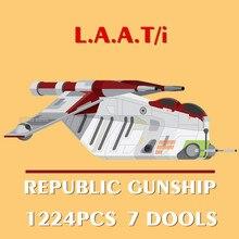 New 1224PCS 7 Dolls Star Space Wars Figures Republic Gunship Droid Aircraft Model Building Blocks Bricks Toys Gifts Kid
