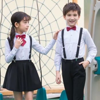 School uniforms set new style summer fashion children flower girl dress host boy piano performance chorus bib boy show suit