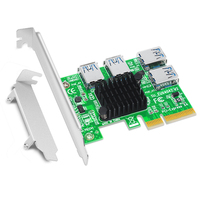 PCI Express Riser Card 1 to 4 16X PCIe Riser PCI E 4X to 4 USB 3.0 Adapter Port Multiplier Card for BTC Bitcoin Miner Mining NEW