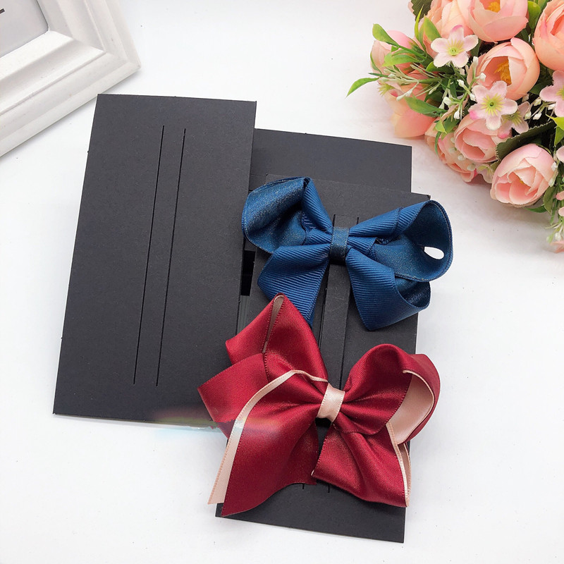 100pcs Black Hair Clips Ornament Bow Jewelry Display Packaging Paper Cards Children Bow Hair Clip Headdress Cardboard QLY9838