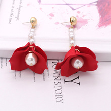 New Fashion Tassel Earrings 925 Silver Needle Long Temperament Red Rose Petals Ladies Jewelry