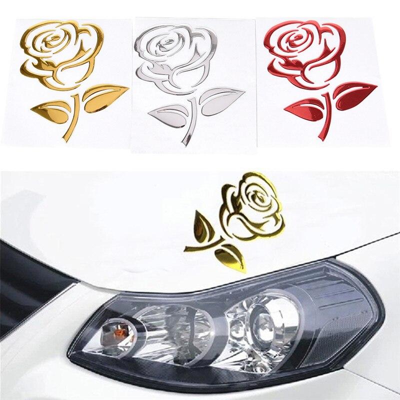 3 cores reflexivo 3d recorte rosa auto adesivo decoração do corpo flor etiqueta do carro universal criativo