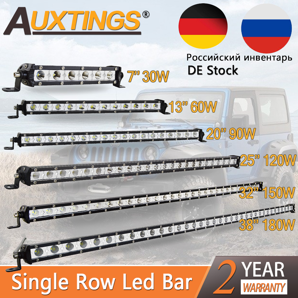 Auxtings Ultra Slim 7 13 20 25 32 38''inch Led Work Light 12V 24V Led Bar For Jeep ATV Trucks Tractor Driving Light Car Styling