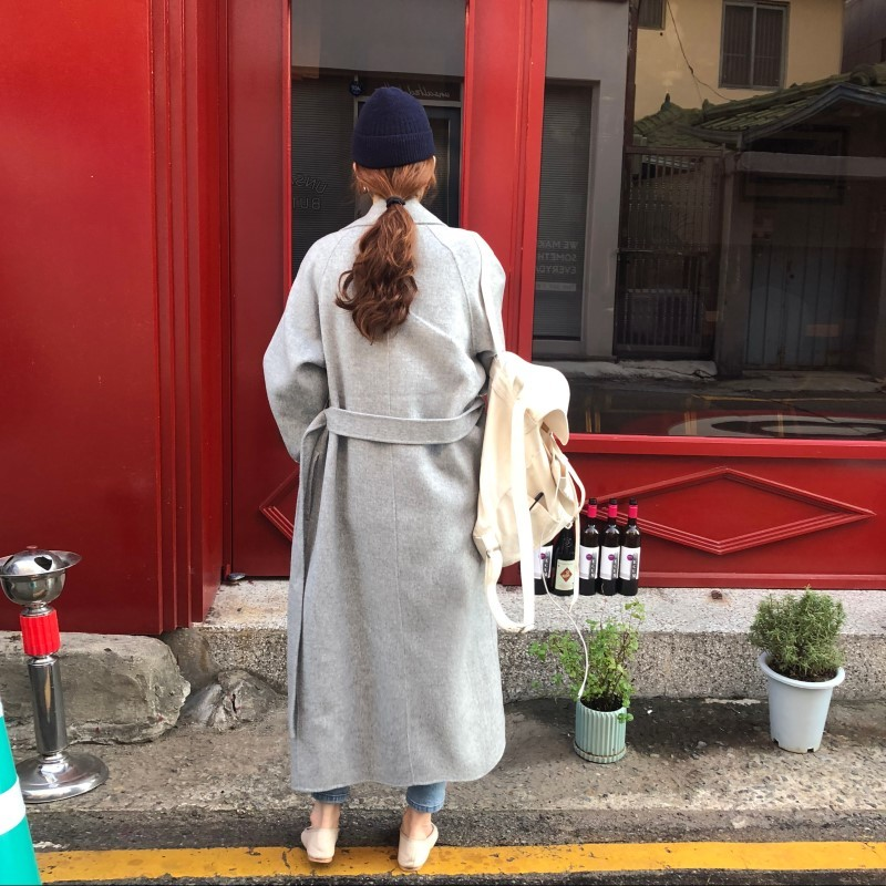 19 Winter Oversize Long Trench Coat Women Cashmere Coat Korean Lady Windbreaker Outwear Streetwear 32