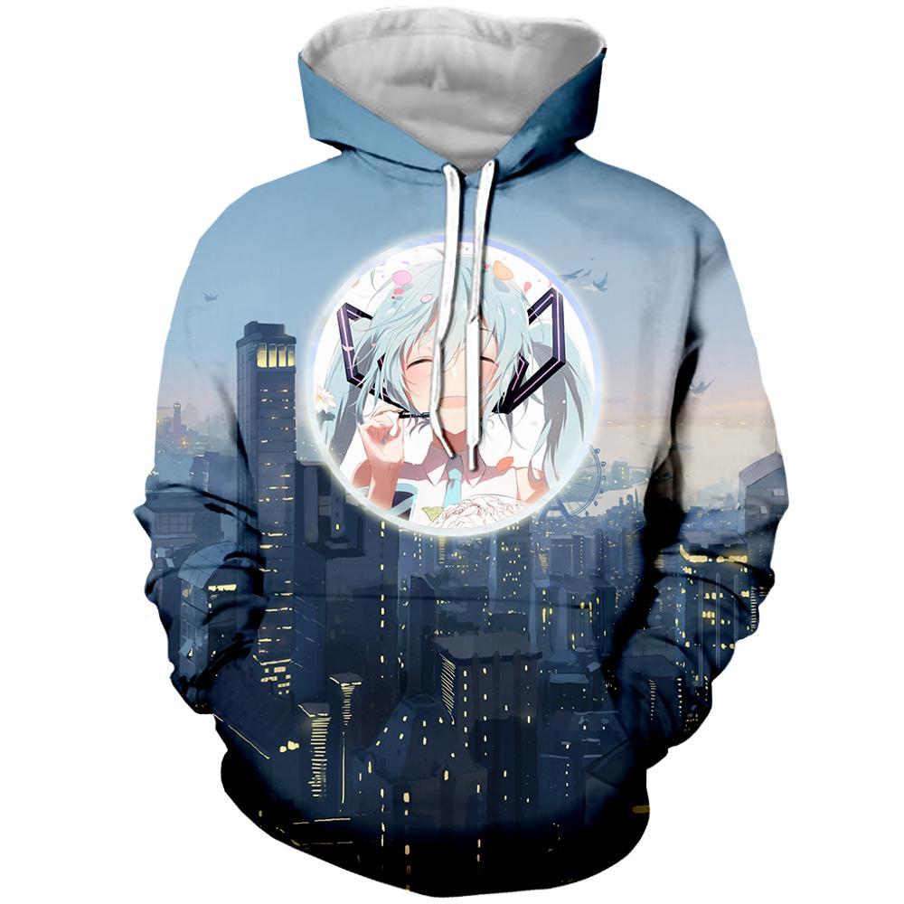 Hoodie Unisex Sweatshirt Hatsune Miku Girls 3D Print Harajuku Style
