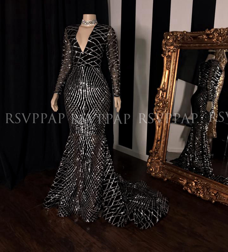 Long Sparkly Prom Dresses 2020 Mermaid Style Long Sleeve Silver Sequin Women Gala Black Girl Prom Gowns