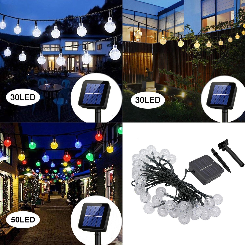 30/50 LED Bulb Solar String Lights Outdoor Garden Lamp Backyard Patio Fairy Lights Clear Bulbs Wedding Christmas Decoration
