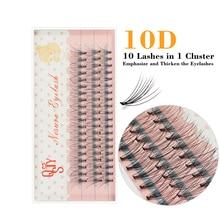 Qsty по профессионального наращивания ресницы натуральный ручной работы 10Д норки макияж индивидуальный кластера ресницы прививки накладные ресницы