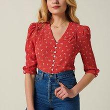 Fashion Women Short Sleeve Floral Blouse V neck Shirt Ladies OL Party Top Dames Streetwear Blusas Femininas Elegante Plus Size