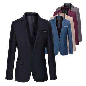 Suit Coat Blazer Office-Jacket Slim-Fit Wedding Male Black Korean Blue Plus-Size Cotton