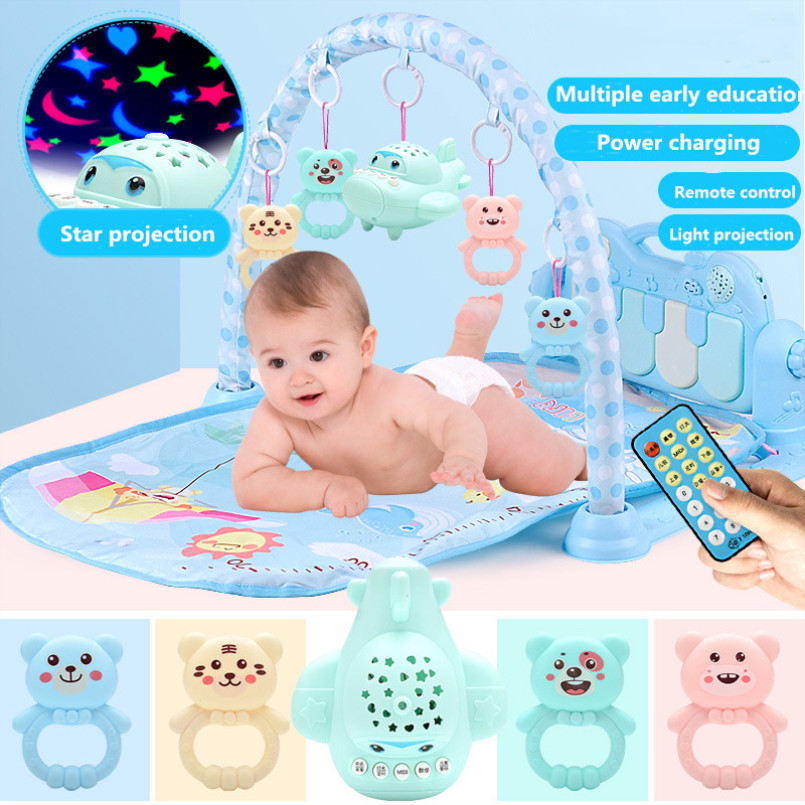 Baby Play Mat Gym Toys Gaming Carpet 0-36 Months Soft Lighting Rattles Children's Music Mat Blue Pink Baby Gifts Educational Toy