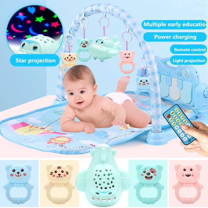 Tapis de jeu bébé Gym jouets tapis de jeu 0-36 mois éclairage doux hochets tapis de musique pour enfants bleu rose bébé cadeaux jouet éducatif