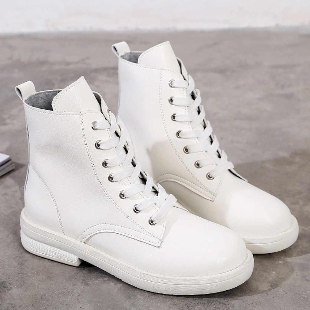 Da PU Nữ Giày Bốt Martin Phong Cách Anh Quốc Giày Cổ Điển Thời Trang Mắt Cá Chân Giày Dây Đeo Lông Ấm Áp Sang Trọng Nữ Giày Nữ Mùa Thu