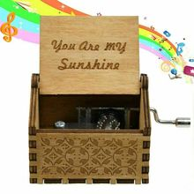 Wooden Music Box Mom/Dad To Daughter Son You Are My Sunshine Theme Engraved Carved Hand Crank Toy Kid Birthday Gift