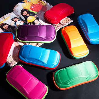 Children Car Shaped Glasses Case Cute Glasses Strage Bag Box Cases Kids Sunglasses Cases Automobile Styling Box image