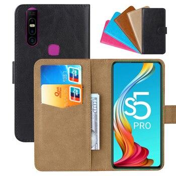 Перейти на Алиэкспресс и купить Роскошный чехол-бумажник для Infinix S5 Pro из искусственной кожи в стиле ретро с откидной крышкой стильные магнитные чехлы с ремешком