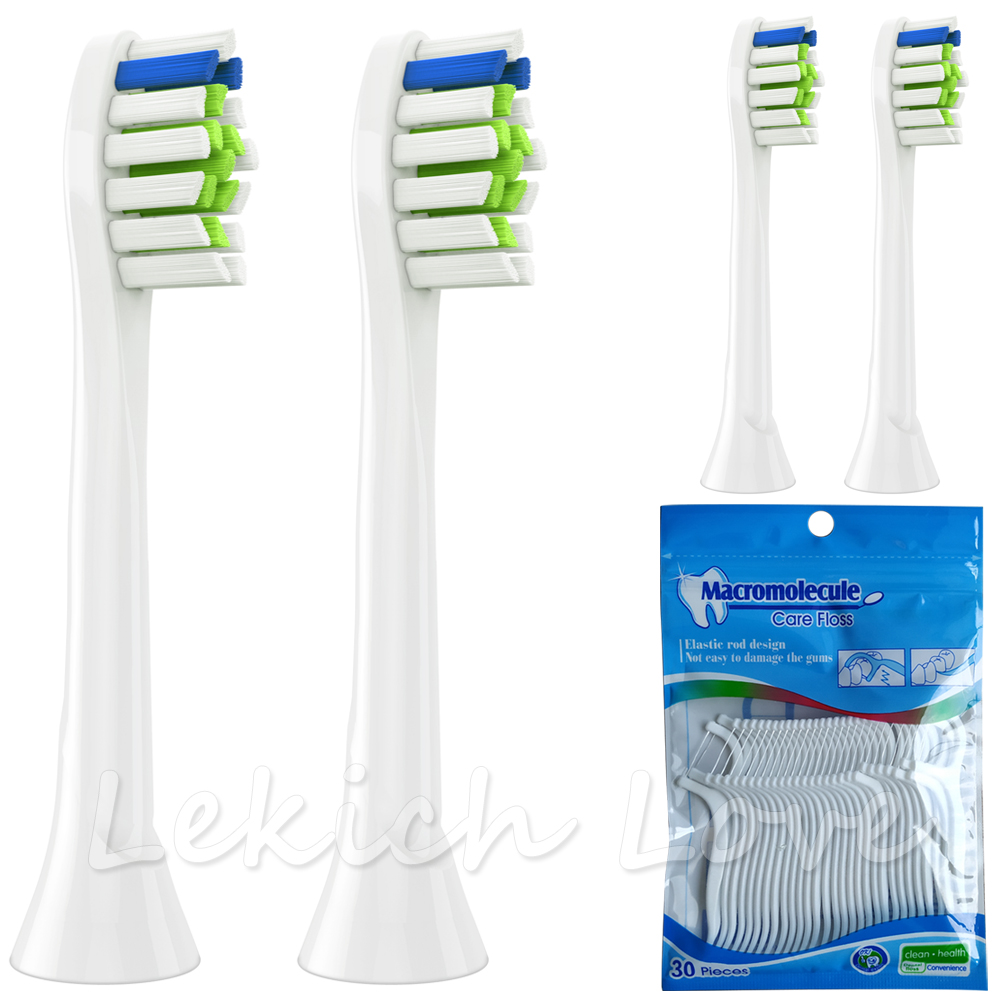 4 Pcs Toothbrush Heads for Philips Sonicare Toothbrush Heads Come with 30Pcs Dental Floss Sticks for Cleaning Teeth Easy image
